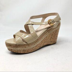 Prada Wedge Sandals Size 36 Beige Open Toe